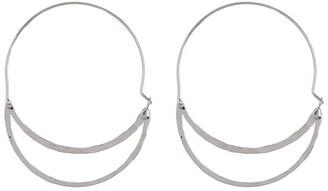 Area Stars Hammered Double Oval Hoop Earrings