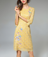 Yellow Floral Scallop-Overlay Three-Quarter Sleeve Dress