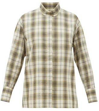 Chimala Stand-collar Plaid Cotton-blend Shirt - Ivory