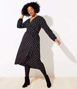 0edd363b6a5 LOFT Plus Polka Dot Wrap Midi Dress