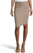 Halston Tuck-Detailed Asymmetric Pencil Skirt, Fossil