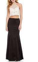 B. Darlin Beaded Top Color Blocked Two-Piece Trumpet Dress