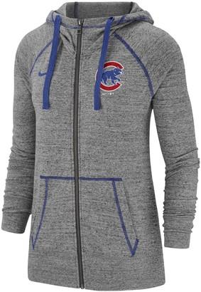 Nike Women's Gray Chicago Cubs Gym Vintage Team Full-Zip Hoodie