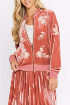 Flying Tomato Rose Velvet Bomber Jacket