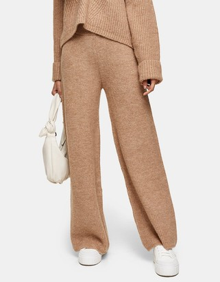 Topshop co-ord knitted wide leg trousers in camel