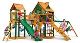 Gorilla Playsets Pioneer Peak Treehouse Swing Set with Fort Add-On & Timber Shield