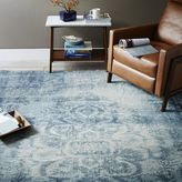 west elm Distressed Arabesque Wool Rug - Midnight