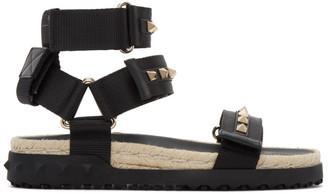 Valentino Black Garavani Rockstud Thick Sandals