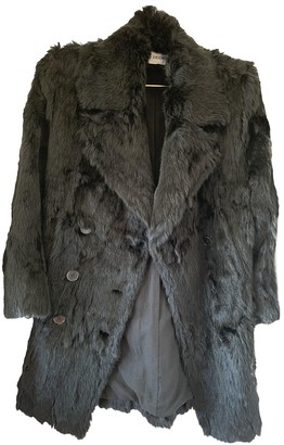 Ann Demeulemeester Black Rabbit Coat for Women
