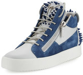 Giuseppe Zanotti Men's May London Spiked High-Top Sneaker, White/Blue