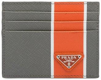 Prada Saffiano Stripe Card Holder