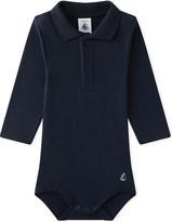 Petit Bateau Polo-collar cotton bodysuit 3-36 months