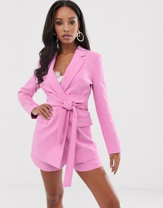 ASOS DESIGN wrap belted suit blazer in pink