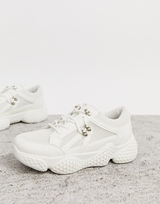Public Desire Rexa hiking detail sneakers in white