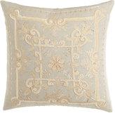 """Callisto Home Como Embroidered Linen Pillow, 22""""Sq."""
