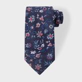 Paul Smith Men's Navy Floral Pattern Silk Tie