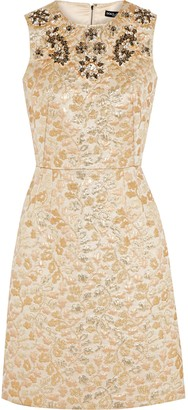 Dolce & Gabbana Crystal-embellished Embroidered Faille Dress