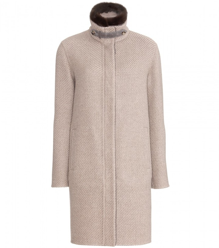 Loro Piana REYNOLD CASHMERE COAT WITH MINK FUR COLLAR
