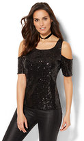 New York & Co. Sequin & Lace Overlay Cold-Shoulder Top