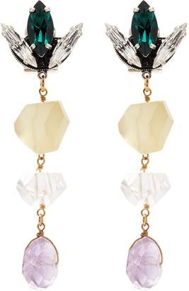Anton Heunis 'Tulip' Swarovski crystal quartz antique silver drop earrings