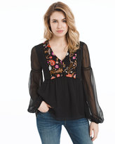 White House Black Market Floral Embroidered Blouse