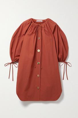 REJINA PYO Scout Tie-detailed Cotton-poplin Mini Dress - Brick