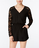 One Clothing Juniors' Surplice Lace Romper