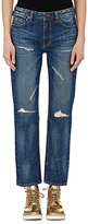VIS A VIS Women's Distressed Boyfriend Jeans-BLUE