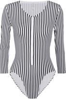 Norma Kamali Striped Swimsuit - Black