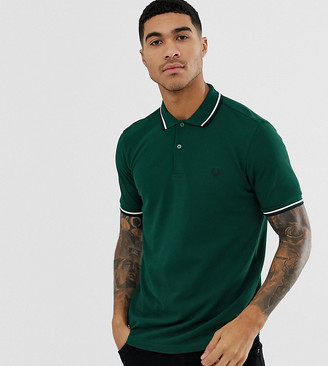 Fred Perry twin tipped logo polo shirt in green Exclusive at ASOS