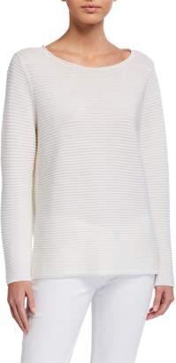 Eileen Fisher Plus Size Organic Linen/Cotton Jewel-Neck Long-Sleeve Sweater