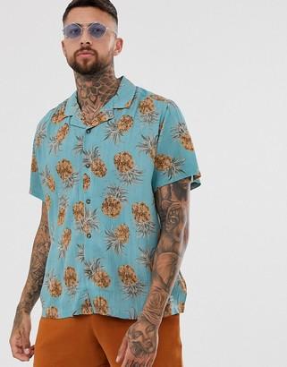 Asos Design DESIGN mike regular fit pineapple print shirt in dusty blue