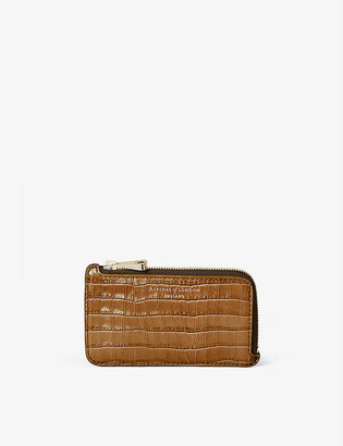 Aspinal of London Mini crocodile-embossed leather coin purse