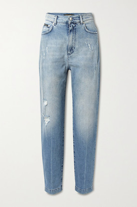 Dolce & Gabbana Distressed High-rise Boyfriend Jeans - Light blue