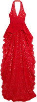 Reem Acra - Corded Lace Halterneck Top - Red