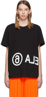 MM6 MAISON MARGIELA Black Oversized Logo T-Shirt