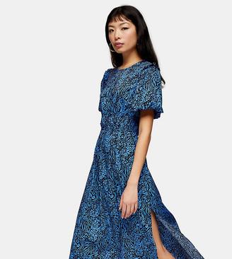 Topshop Petite zebra print midi dress in blue