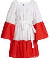 Lisa Marie Fernandez Contrast-panel broderie-anglaise cotton dress
