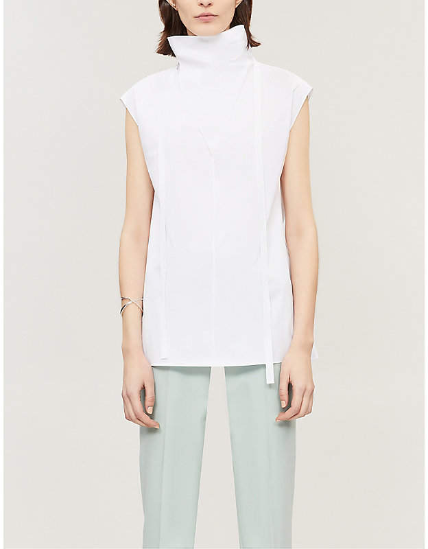 Theory Women's White Neck Tie Stretch Cotton Top