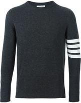 Thom Browne Crewneck Pullover With 4-Bar Stripe In Dark Grey Cashmere