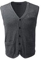Lands' End Men's Cotton Wool Vest-Charcoal Gray