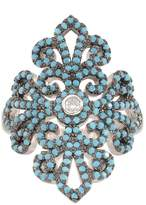 KIVN Jewelry Turquoise Rings-KIVN Fashion jewelry Elegant CZ Cubic Zirconia Flower Rings for Women(Turquoise)