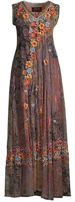 Johnny Was Merkava Floral Mesh Flounce Slip Dress
