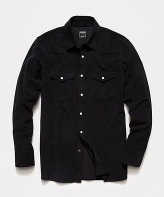Todd Snyder Micro Corduroy Western Shirt in Black