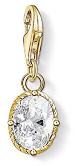 Thomas Sabo Women Charm Pendant White Stone 925 Sterling Silver; 18k Yellow Gold Plating 1673-414-14