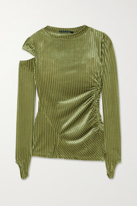 ANDERSSON BELL Tilda Cutout Ruched Striped Velvet-jacquard Top - Sage green
