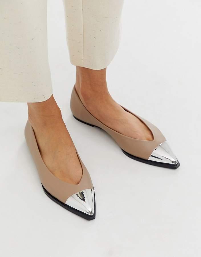 05f04d1f731 Asos Design ASOS DESIGN Logan pointed ballet flats with toe cap in
