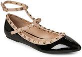 Wild Diva Black Pippa Pointed Toe T-Strap Flats