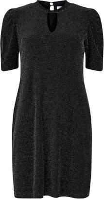 Wallis PETITE Black Sparkle High Neck Dress