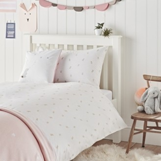 The White Company Easy-Care Sleepy Bunny Bed Linen Set, White/Pink, Cot Bed